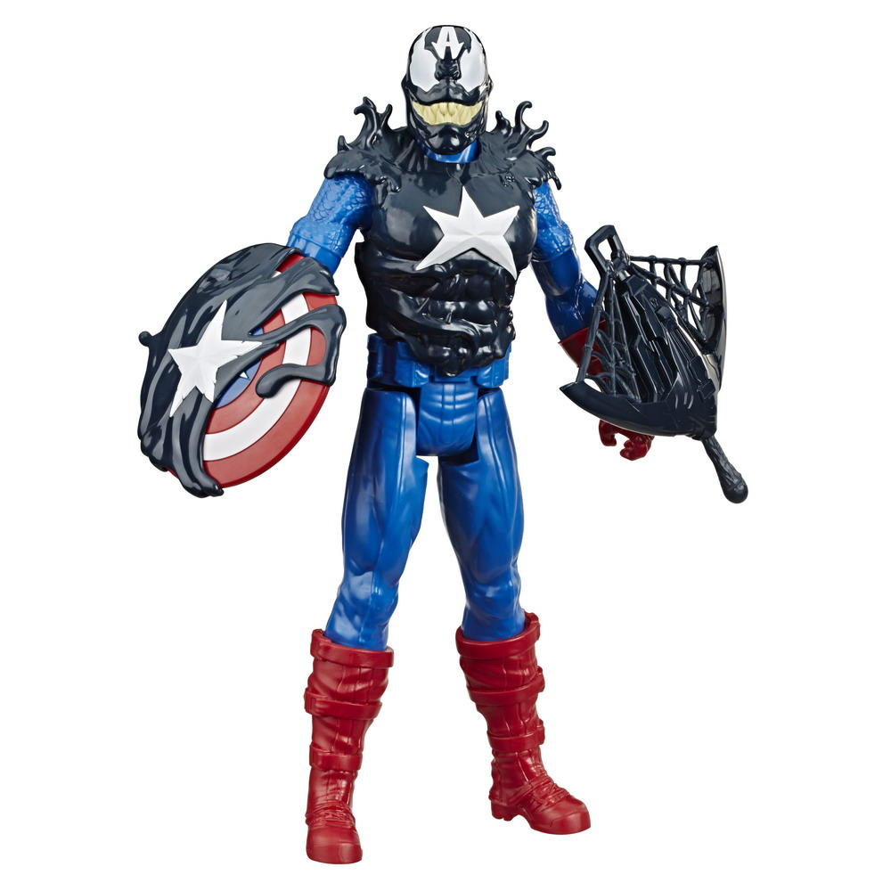 SPIDER-MAN MAX VENOM TITAN HERO BLAST GEAR VENOMIZED CAPTAIN AMERICA Figure - oop (1)