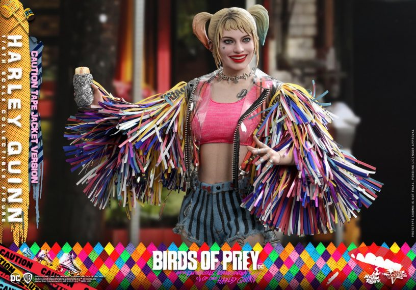 with Collectible Card In Hand Birds of Prey Harley Quinn Caution Tape Pop