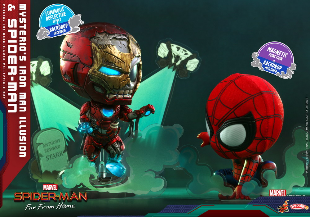 Hot Toys - SMFFH - Mysterios Iron Man Illusion and Spider-Man Cosbaby_PR2
